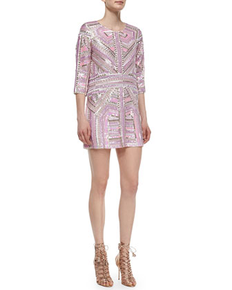 Petra 3/4-Sleeve Sequin-Beaded Shift Dress