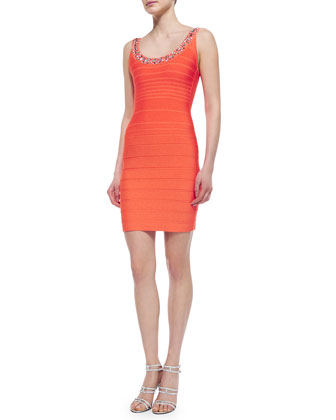 Renee Body-Conscious Crystal-Neck Dress