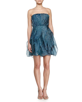 Strapless Ruffled Cocktail Dress, Stargazer