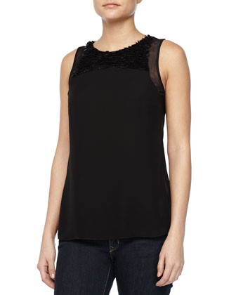 Leather Detail Tank Top, Black