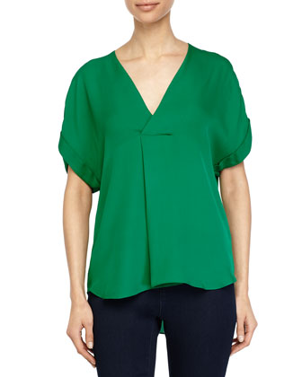 Short-Sleeve Faux-Wrap Top, Emerald