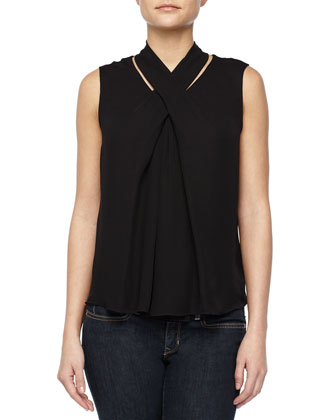 Crisscross Front Blouse, Black