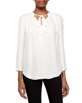 Pleated Blouse with Tie, Bone