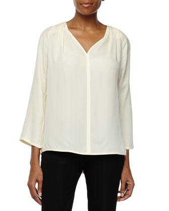 Three Quarter-Sleeve Drapey Top, Cream