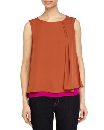 Sleeveless Colorblock Top, Bright Magenta/Spice