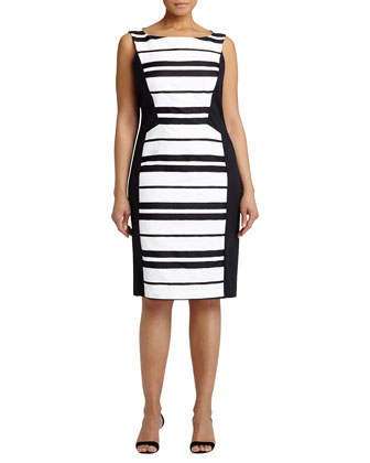 Kimberly Striped Sheath Dress, Black/White, Women's