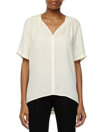 Short-Sleeve Drapey Top, Cream