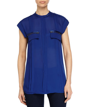 Zipper Pocket Sheer Top, Indigo