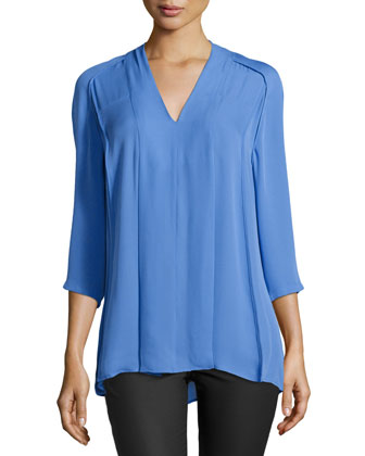 Pleated-Front Tunic, Sky