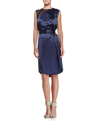 Mesh Detail Belted Dress, Navy/Black