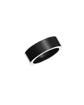 Resin Metal-Trim Bangle, Black
