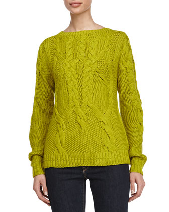 Cable-Knitted Long-Sleeve Sweater, Apple Green