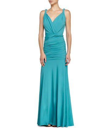Sleeveless Ruched Evening Gown, Caribbean