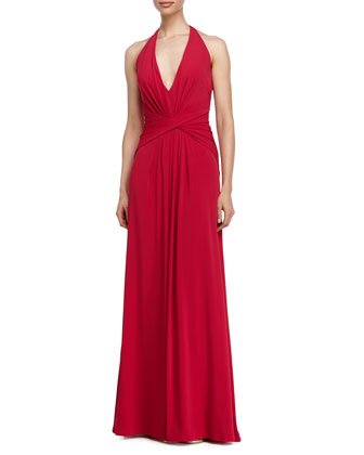 Deep V-Neck Twist-Front Halter Gown, Raspberry