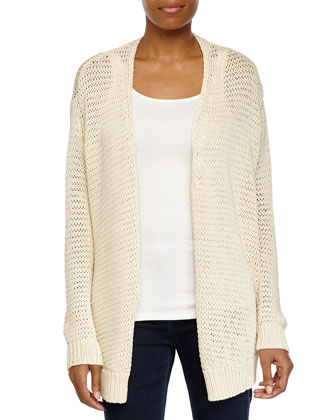 Open Front Sheer Cardigan, Cream