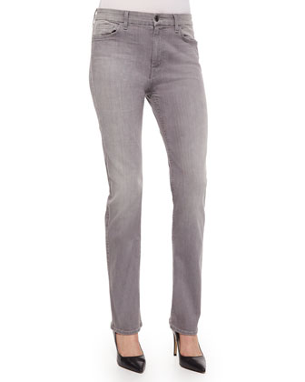Slim Straight-Leg Jeans, Light Gray
