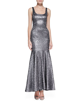 Sleeveless Metallic Leopard-Print Mermaid Gown