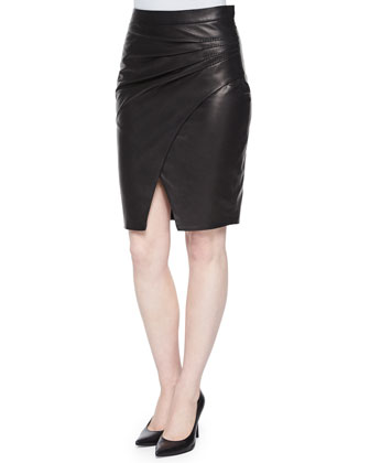 Karen Pleated-Side Faux-Leather Skirt