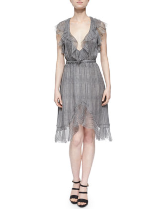 Printed Sophie Ruffle Dress, Gray/Antique Cobra