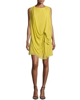 Draped-Front Sheath Dress, Straw
