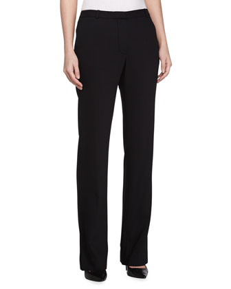 Straight Leg Tailored Pants, Black