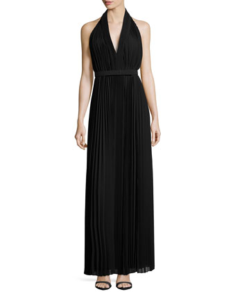 Pleated Halter Gown with Belt, Black