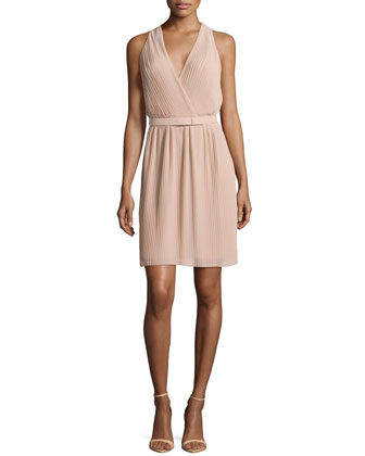 Pleated Wrap Dress with Belt, Nude