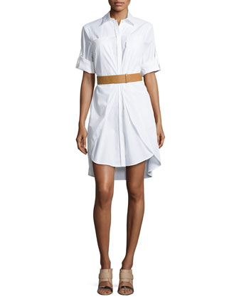Long-Sleeve Belted Shirtdress, White