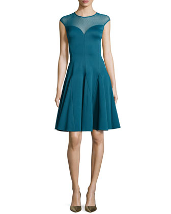 Fit-and-Flare Cocktail Dress, Dark Cadmium
