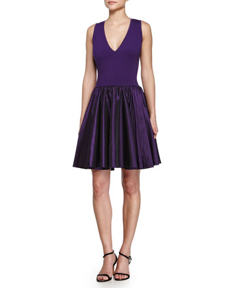 Fit & Flare Cocktail Dress, Purple