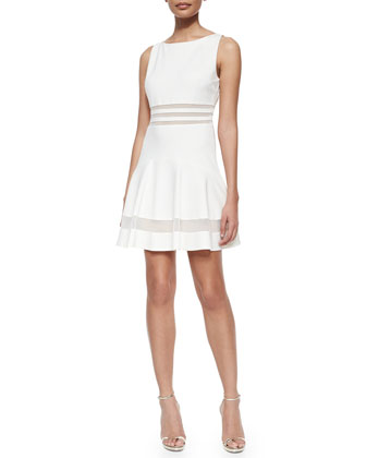 Tessa Sleeveless Mesh-Striped Flounce Dress