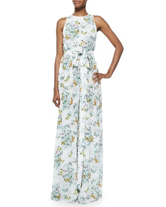 Ava Sleeveless Butterfly-Print Maxi Dress