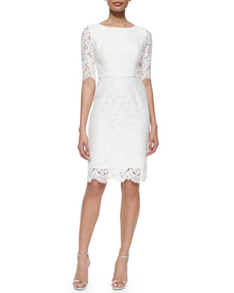 Lisette 3/4-Sleeve Lace Sheath Dress