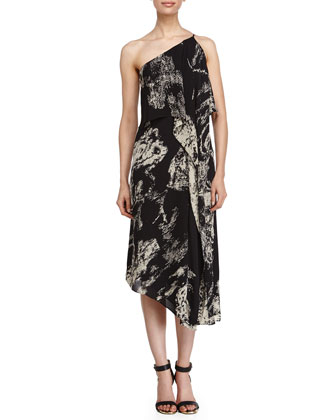 Asymmetric Patterned Tier Dress, Black