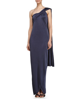 One Shoulder Wrap Gown, Charcoal