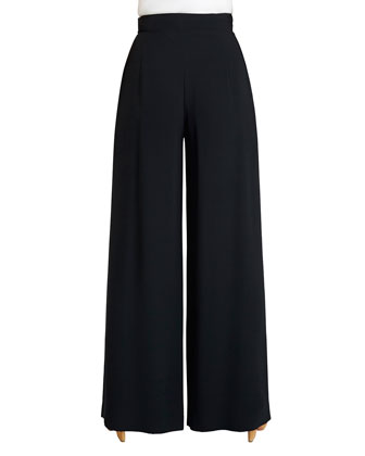 Ludlow Wide-Leg Crepe Pants, Black