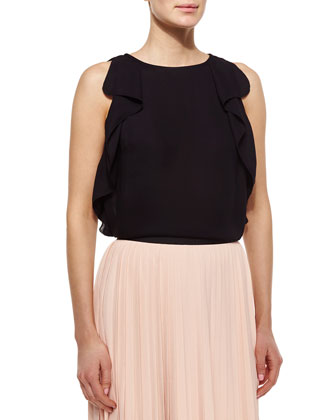 sleeveless ruffle-sleeve crepe top
