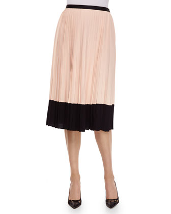 pleated midi two-tone skirt