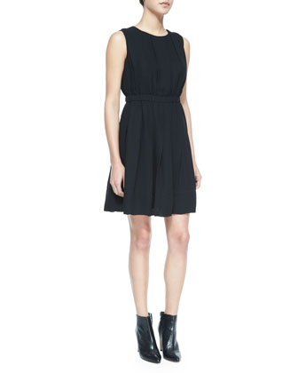 pleated sleeveless crewneck dress, black