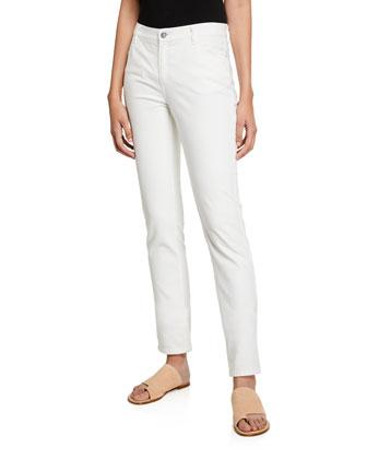 Long-Sleeve Jersey Tee W/ Grosgrain Trim & Curvy Slim Leg Jeans