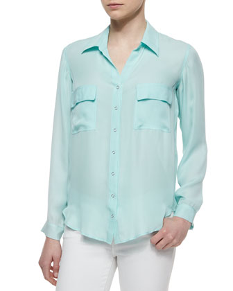 Margaret Two-Pocket Silk Blouse, Aqua