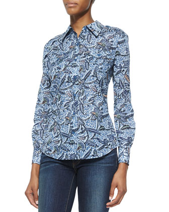 Brigitte Floral-Print Button-Down Blouse