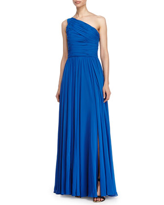 One Shoulder Gathered Gown, Cobalt