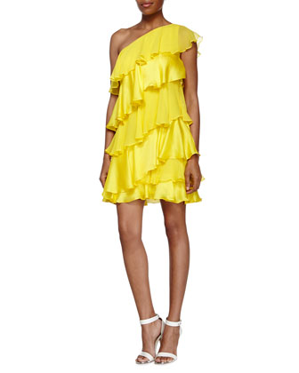 One Shoulder Tiered Dress, Citron
