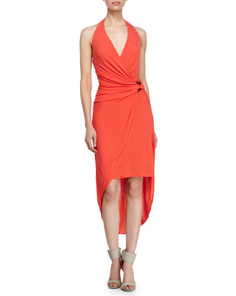 Layered-Skirt Halter Dress, Vermillion