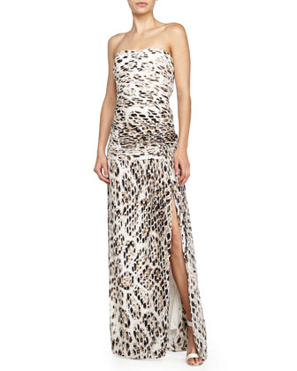 Strapless Allover Pleated Gown, Flint Feather
