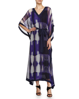 Three-Quarter-Sleeve Printed Caftan, Violet