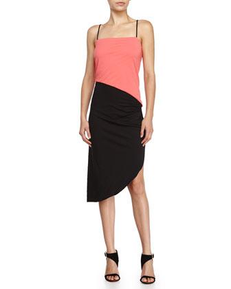 Asymmetrical Pleated Dress, Tulip/Black