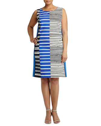 Drita Sleeveless Multi-Stripe Dress, Women's