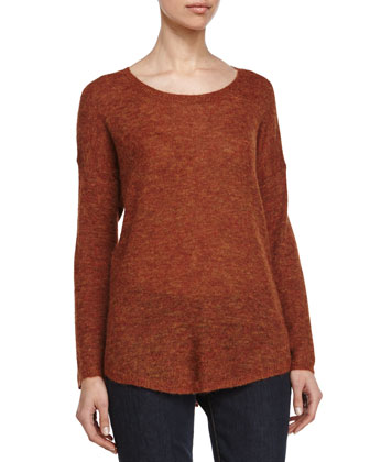 Long-Sleeve Sweater, Rust